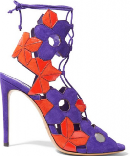 Casadei Suede Purple & Orange Lace-Up Sandals