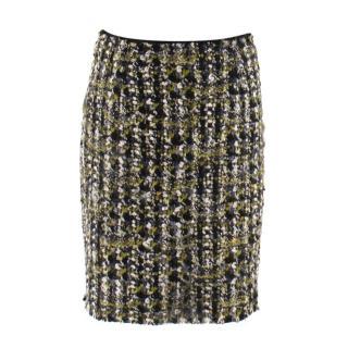 Lanvin Wool Tweed Green & Black Skirt