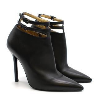 Bottega Veneta Black Leather Double Strap Booties