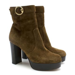 Gianvito Rossi Jackson Suede Brown Block Heeled Boots