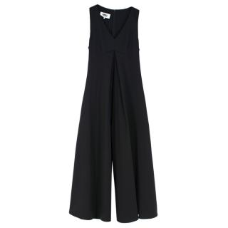 MM6 Wool Blend Black Wide Leg Sleeveless Jumpsuit