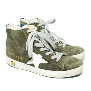 Golden Goose Francy High Top Green Suede Sneakers
