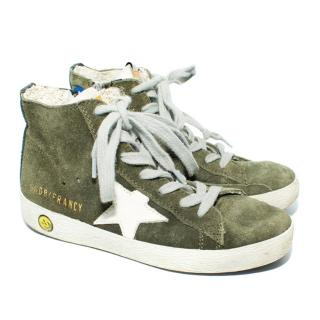 Golden Goose Francy High Top Green Suede Sneakers