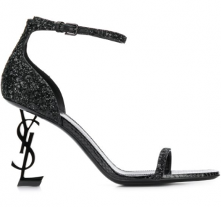 Saint Laurent Black Opyum 85 Glitter Sandals