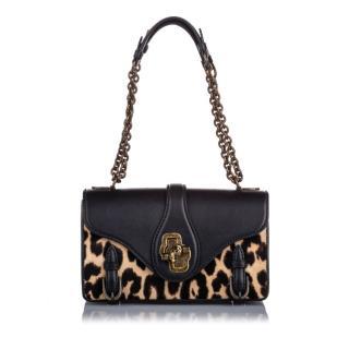 Bottega Veneta Leopard Print Pony Hair City Knot Shoulder Bag