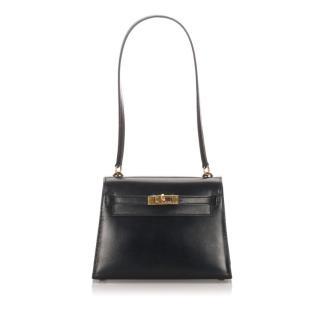 Hermes Black Box Leather Kelly 20 Mini Bag