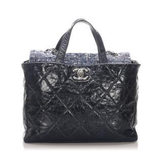 Chanel Aged Patent Leather & Tweed Portobello Shoulder Bag