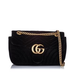 Gucci Black Velvet Small GG Marmont Crossbody Bag