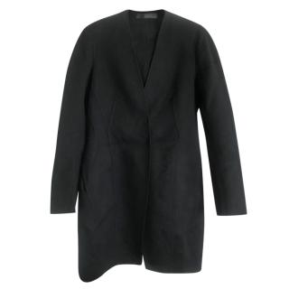 Donna Karan black cashmere tulip shape coat