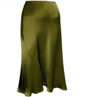 Ralph Lauren Khaki Silk Satin Skirt