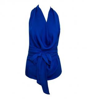 Gucci Blue Halterneck Silk Top