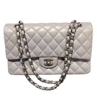 Chanel Grey Quilted Double Flap Bag