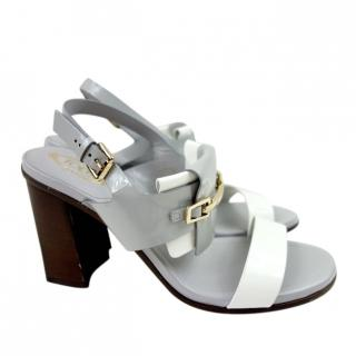 Tod's Grey & White Block Heel Sandals