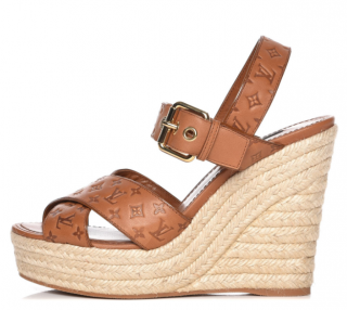 Louis Vuitton Calfskin Monogram Espadrille Wedge Sandals