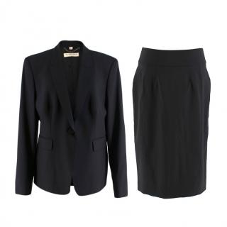 Burberry Black Single-Breasted Wool Skirt Suit