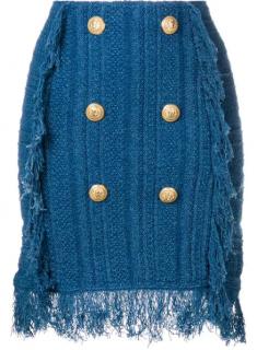Balmain Frayed Button-embellished Tweed Mini Skirt In Blue