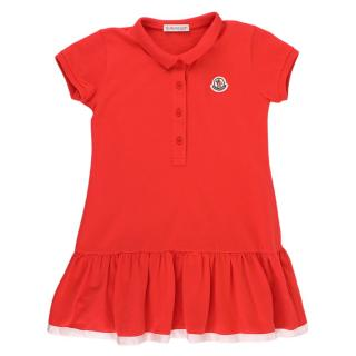 Moncler Girls Red Cotton Blend Polo Dress