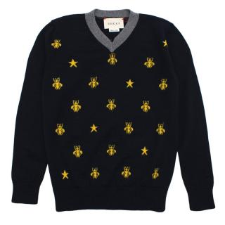 Gucci Navy Sweater with Embrodered Bees