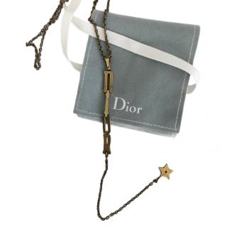 Dior Logo Drop Star Necklace in Antique Gold Tone