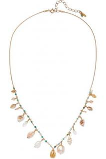 Chan Luu Gold-plated, shell and multi-stone necklace