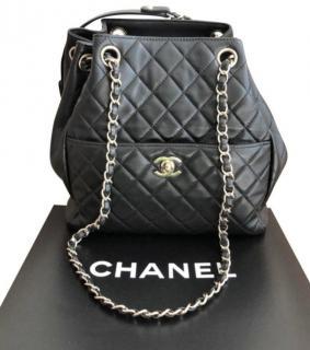 Chanel black lambskin bucket bag