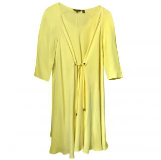 Mulberry Yellow Tie Front Shift Dress
