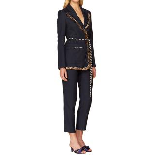 Peter Pilotto Navy Single Breasted Tailored Textured Suit