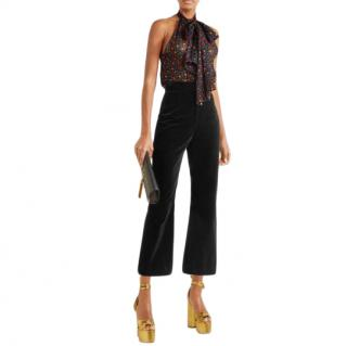 Saint Laurent Black Cropped Cotton-velvet Flared Trousers