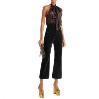 Saint Laurent Black Cropped Cotton-velvet Flared Trousers