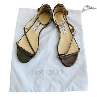 Jimmy Choo Gunmetal Leather Patent Sandals