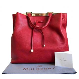 Mulberry Poppy Red Classic Grain Small Kensington Tote Bag