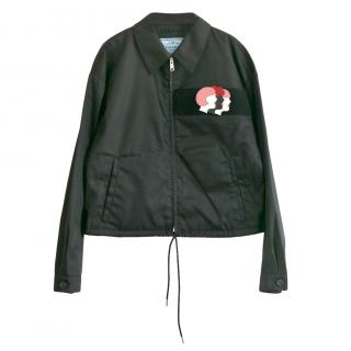 Prada Black Oversize Bomber Jacket with Patch