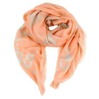 Gucci Pink Ghost Print Silk Blend Shawl