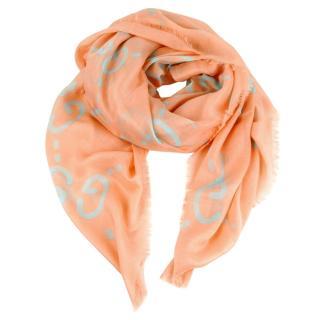 Gucci Pink Ghost Print Silk Blend Shawl