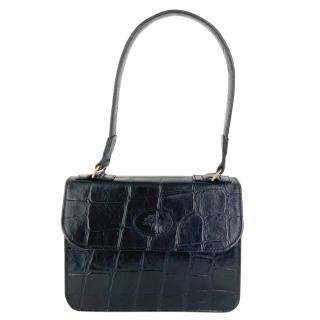 Mulberry Black Croc Embossed Vintage Handbag