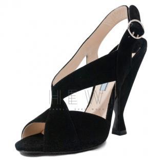Prada black suede hourglass heel sandals