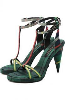 Burberry Tartan Cone Heel Sandals