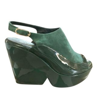 Robert Clergerie Suede & Leather Green Wedge Slingback Sandals