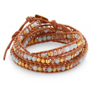 Chan Luu Mother of Pearl 18kt Gold Double Wrap Bracelet