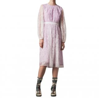 Burberry Puff-sleeve Embroidered Tulle Dress
