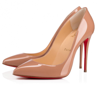 Christian Louboutin Pigalle Follies nude patent leather 100mm pumps