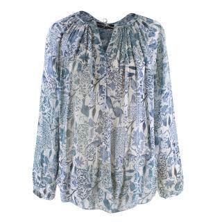 Isabel Marant Sheer Silk Blue Floral Blouse