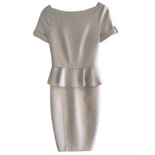 Burberry Greige Fitted Peplum Dress