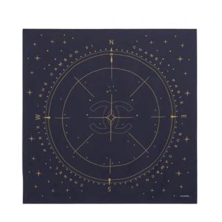 Chanel Blue & Gold Compass Print Silk Scarf