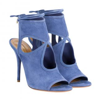 Aquazzura Suede Sexy Thing Sandals in Hydrangea