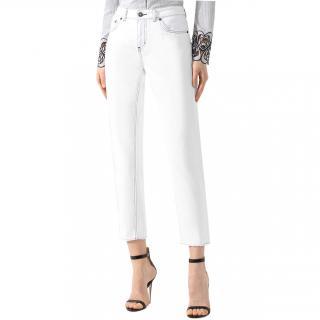 Escada White Contrast Stitch Boyfriend Jeans