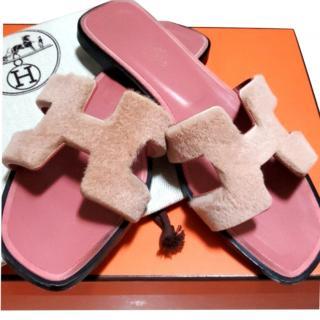 Hermes Pink Mink Fur Oran Sandals