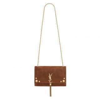 Saint Laurent Tan Suede Studded Kate Tassel Bag