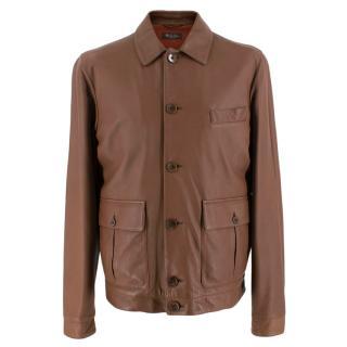 Loro Piana Brown Button-Down Leather Jacket