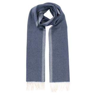 Tom Ford Blue Tonal Cashmere Scarf